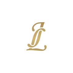 Initial letter JL, overlapping elegant monogram logo, luxury golden color