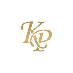 Initial letter KP, overlapping elegant monogram logo, luxury golden color