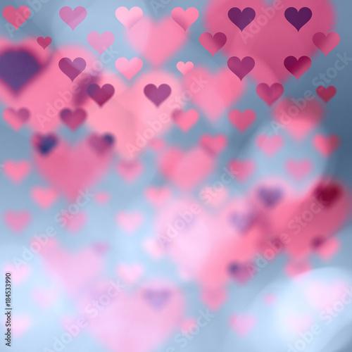 Beautiful Blurry Heart Symbols On Abstract Bokeh Illustration