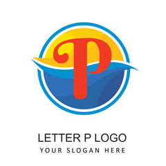 travel beach logo with letter p