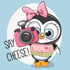Cute cartoon Penguin with a camera