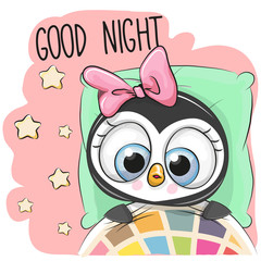 Cute Cartoon Sleeping Penguin Girl
