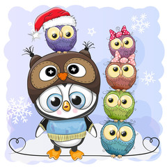 Cute Cartoon Penguin and five Owls