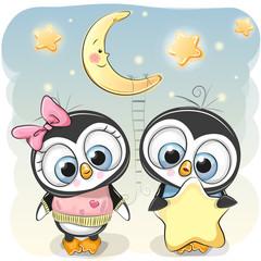 Cute Penguin boy gives a Penguin girl a star
