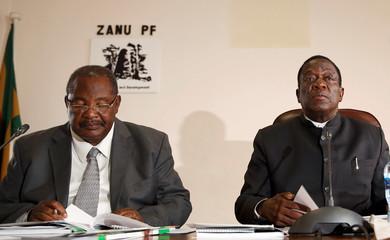 Zimbabwe's President Mnangagwa chairs the ZANU PF's Politburo meeting with Obert Mpofu, the party's finance secretary in Harare