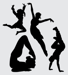 yoga acrobat and dance silhouette Good use for symbol, logo, web icon, mascot, sign, sticker, or any design you want