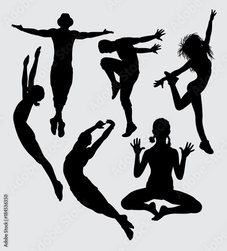 Dance Aerobic And Sport Silhouette Good Use For Symbol Logo Web