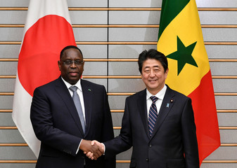 Senegal's President Macky Sall is welcomed by Japan's Prime Minister Shinzo Abe before their meeting at the Prime Minister's official residence in Tokyo