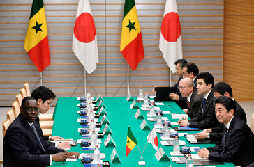 Senegal's President Macky Sall attends a meeting with Japan's Prime Minister Shinzo Abe at the Prime Minister's official residence in Tokyo