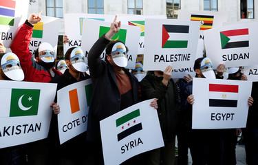 Pro-Palestinian demonstrators shout slogans in Istanbul