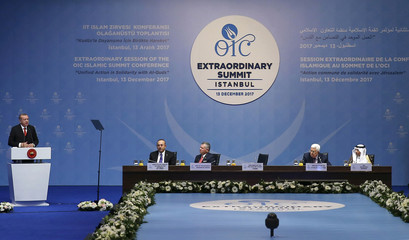 Turkish President Erdogan speaks during an extraordinary meeting of the OIC in Istanbul