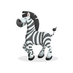 Cute cartoon trendy design cheerful zebra. African or safari animals wildlife vector illustration sticker icon.