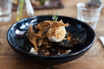 Closeup of a vegetarian dish with mixed mushrooms and a poached egg on top