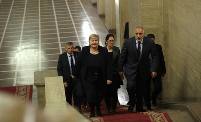 Bulgarian Prime Minister Borissov walks with Norway's Prime Minister Solberg before their meeting in Sofia