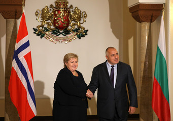 Bulgarian Prime Minister Borissov poses for a picture with Norway's Prime Minister Solberg in Sofia