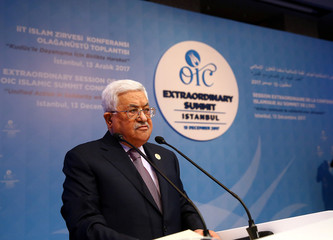 Abbas speaks during an extraordinary meeting of the OIC in Istanbul