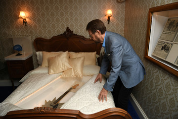 Bjorn Ulvaeus of ABBA checks the bed in a replica of the Napoleon Suite at the Brighton Grand Hotel where ABBA celebrated winning the 1974 Eurovision song contest as part of the  opening of 'ABBA: Super Troopers' exhibition at the Southbank Centre in Londo