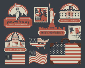 Vector set of american symbols and architectural landmarks of the United States of America with USA flag in retro style