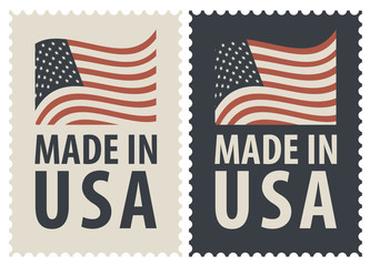 Set of two postage stamps with the words Made in USA and image of the American flag. Vector illustration of stamps of the United States of America