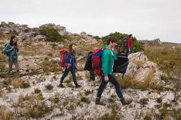Group of friends walking in grassland