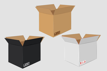 Cardboard Open Box. Side View. Package Design