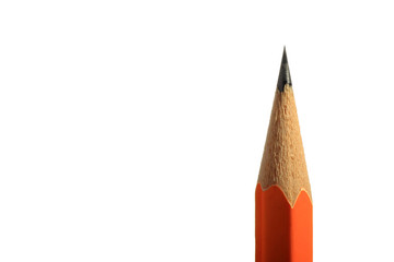 A wooden sharp pencil with an eraser. Isolated on white.