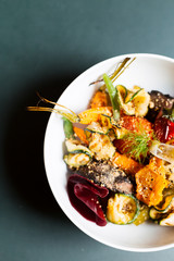 A colorful bowl of roasted vegetables for lunch