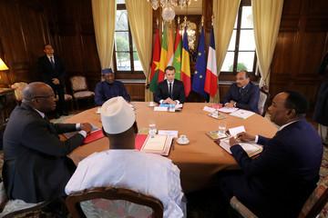 French President Macron hosts a meeting with Burkina Faso's President Kabore, Chad's President Deby, Mali's President Keita, Mauritania's President Aziz, and Niger's President Issoufou near Paris