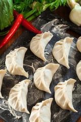 Raw gyoza or jiaozi dumplings ready for cooking