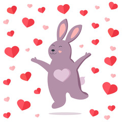 Funny jumping rabbit in love.