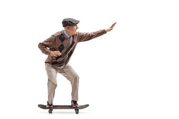 Elderly man riding a skateboard