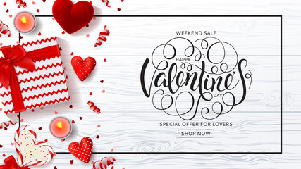 Promo Web Banner for Valentine's Day Sale. Top view on composition with lollipop, gift box, case for ring, candles and confetti. Vector illustration with Lettering. Seasonal Discount Offer.