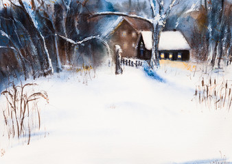 Rural winter landscape with a forest, a house and a snowy meadow or field. A dull, gloomy day and twilight. a lot of snow and drifts. Rustic wooden house. Watercolor drawing. Watercolor painting.