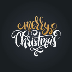 Merry Christmas lettering. Vector calligraphic illustration. Happy Holidays greeting card etc.