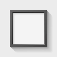 Realistic empty black frame on light background, border for your creative project, vector design object