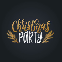 Vector Christmas Party lettering. Happy Holidays greeting card, poster template