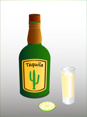 A bottle of Mexican alcoholic tequila drink, a full glass and lime slice. The shape of the bottle and the label are invented. Vector illustration