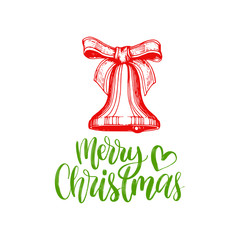 Merry Christmas lettering on white background.Vector bell drawing illustration.Happy Holidays greeting card, poster etc.
