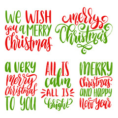 Vector Christmas calligraphic illustrations. Set of New Year hand lettering on white background.