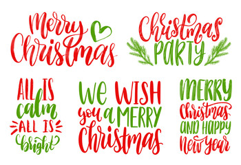 Set of New Year hand lettering. Vector Christmas calligraphic illustrations. Happy Holidays greeting card concepts.