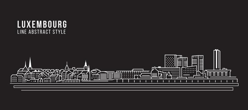 Cityscape Building Line art Vector Illustration design - Luxembourg city