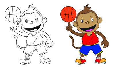 cartoon monkey playing basketball . Both in separate layers for easy editing and coloring