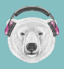 Portrait of Polar Bear with headphones, hand-drawn illustration