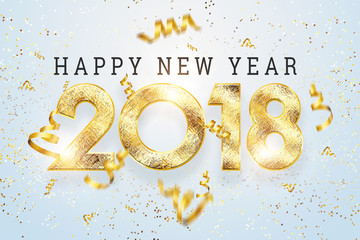 2018 Happy new year. Gold Numbers Design of greeting card of. Gold Shining Pattern. Happy New Year Banner with 2018 Numbers on Bright Background. Gold frame and confetti