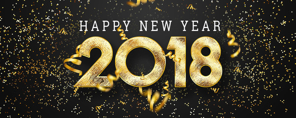 2018 Happy new year. Gold Numbers Design of greeting card. Gold Shining Pattern. Happy New Year Banner with 2018 Numbers on black Bright Background.