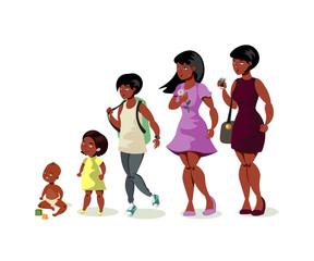 Set of black girls from newborn to infant toddler school girl