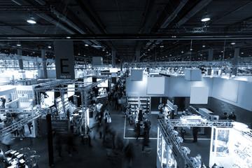 blurred people at Frankfurt trade fair