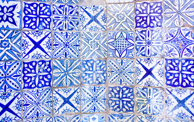 White Blue Azulejo Moroccan Tile Background