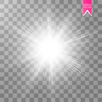 Glow light effect. Star burst with sparkles. Vector