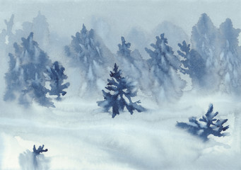 firs in the snow watercolor background